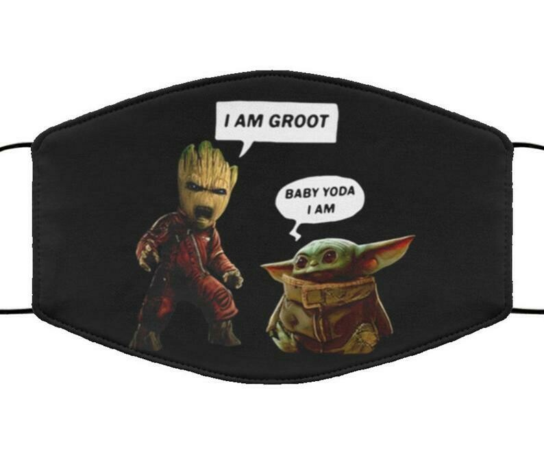 I Am Groot Baby Yoda I Am facemask can be washed comfortable Dust Filter Cotton Face Mask