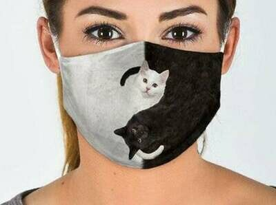 Black and White Cats Cat Lover handmade facemask - can be washed comfortable to wear Anti Droplet Dust Filter Cotton Face Mask