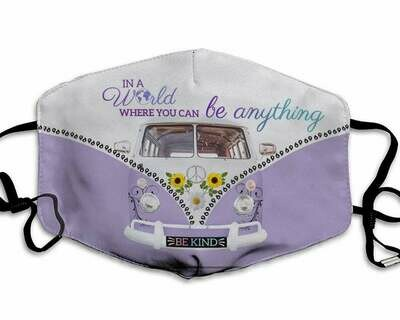 Hippie Van Sunflower Be kind handmade facemask can be washed comfortable to wear Dust Filter Cotton Face Mask