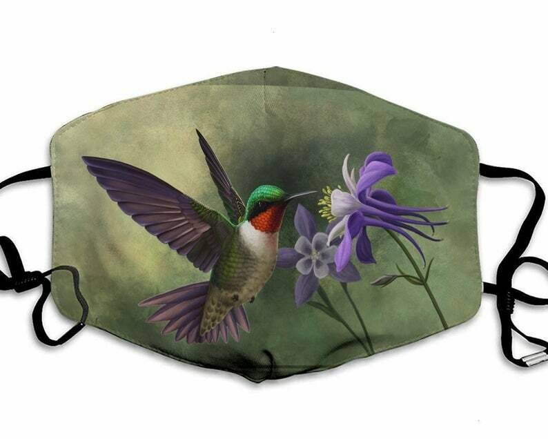 Humming Bird Flower Lover handmade facemask - can be washed comfortable to wear Anti Droplet Dust Filter Cotton Face Mask