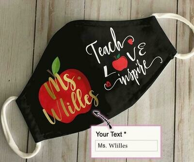 Customize Name Teacher Teach Love Inspire handmade facemask - can be washed comfortable to wear Anti Droplet Dust Filter Cotton Face Mask
