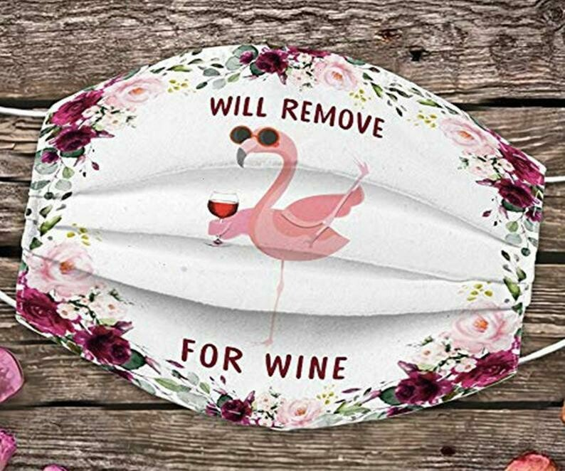 Flamingo Will Remove For Wine handmade facemask - can be washed comfortable to wear Anti Droplet Dust Filter Cotton Face Mask