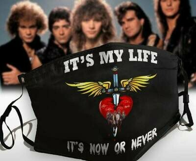 It's My Life It's Now Or Never Bon Jovi Rock Band Fans facemask can be washed comfortable to wear Anti Droplet Dust Filter Cotton Face Mask