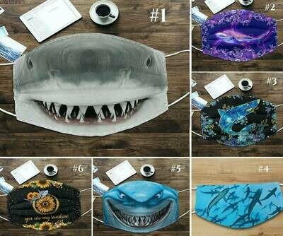 Shark Face Cover handmade facemask - can be washed comfortable to wear Anti Droplet Dust Filter Cotton Face Mask