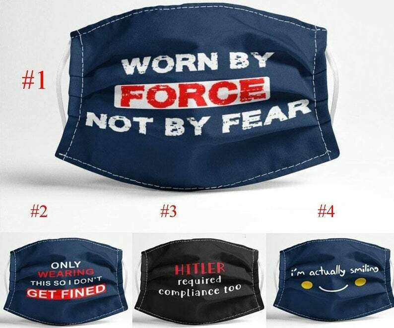 Worn By Force Not By Fear handmade facemask - can be washed comfortable to wear Anti Droplet Dust Filter Cotton Face Mask