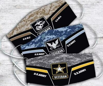 U.S.M.C U.S.Navy U.S.Army Veteran Handmade Facemask - can be washed to reuse comfortable to wear Anti Droplet Dust Filter Cotton Face Mask