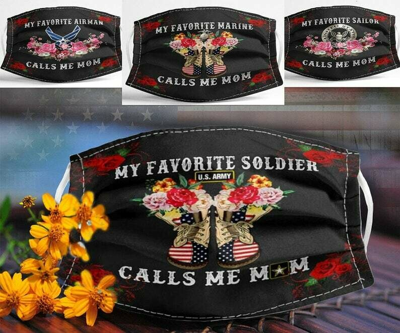 My Favorite Soldier US Army Calls Me Mom handmade facemask - can be washed comfortable to wear Anti Droplet Dust Filter Cotton Face Mask