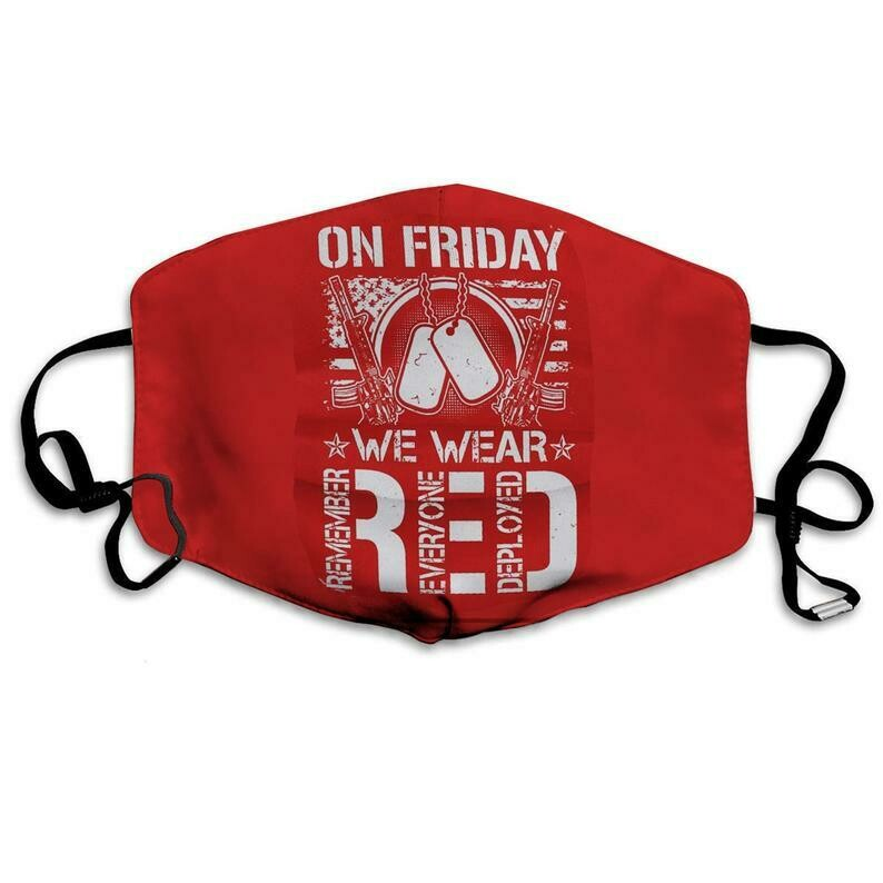 On Friday We Wear Red Veteran 3 Layer Face Mask,Adult Kid FaceMask,Washable Reusable Face Mask,FAST Shipping Made in USA