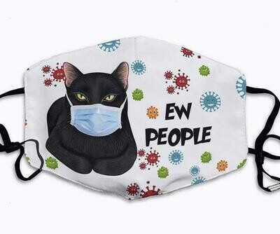 Black Cat Ew People handmade facemask - can be washed comfortable to wear Anti Droplet Dust Filter Cotton Face Mask