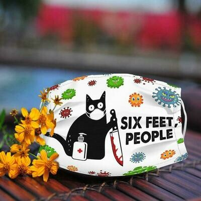 Black Cat Funny Six Feet People 3 Layer Face Mask,Adult Kid FaceMask,Washable Reusable Face Mask,FAST Shipping Made in USA