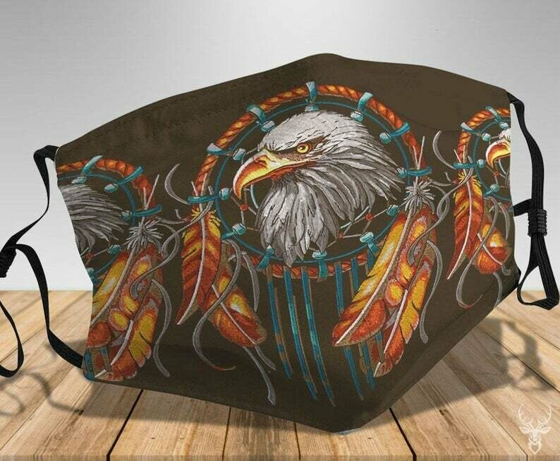 The Eagle Native American EAGLE with Feathers handmade facemask can be washed comfortable to wear Anti Droplet Dust Filter Cotton Face Mask
