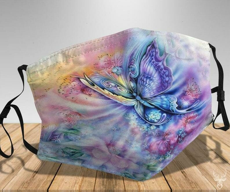 Butterfly Artwork handmade facemask - can be washed comfortable to wear Anti Droplet Dust Filter Cotton Face Mask
