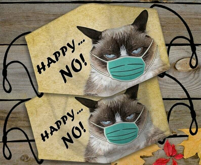 Happy No Grumpy Cat handmade facemask - can be washed comfortable to wear Anti Droplet Dust Filter Cotton Face Mask