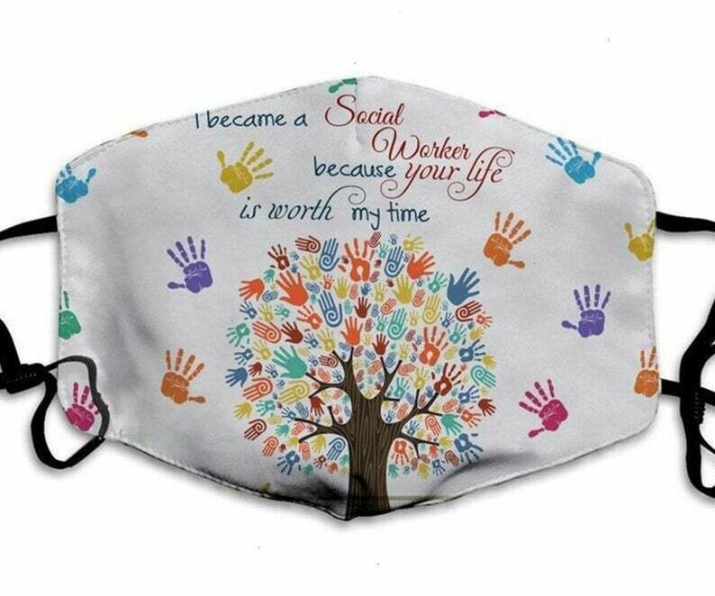 Social Worker Hand Mask handmade facemask - can be washed comfortable to wear Anti Droplet Dust Filter Cotton Face Mask