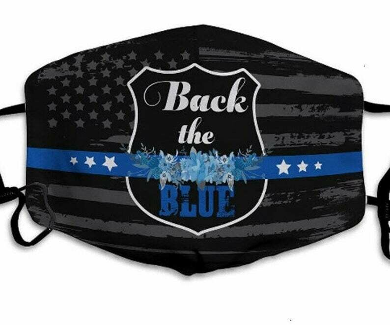 Back the Blue Police & Law Enforcement Blue Lives Matter facemask can be washed comfortable Anti Droplet Dust Filter Cotton Face Mask