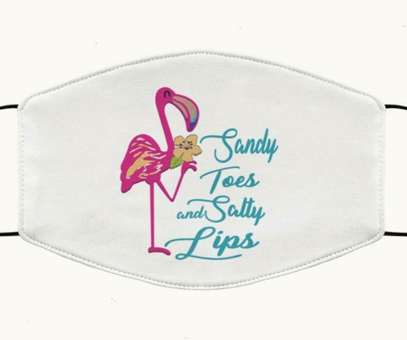 Flamingo Sandy Toes And Salty Lips handmade facemask - can be washed comfortable to wear Anti Droplet Dust Filter Cotton Face Mask