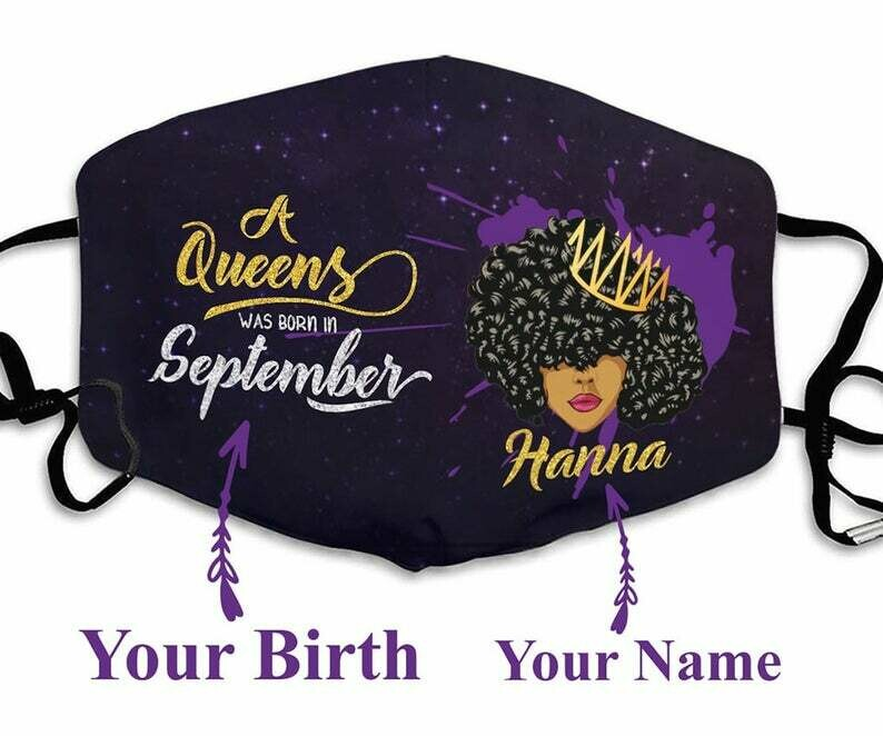 Customized Name Birth A Queen Was Born In September facemask can be washed comfortable to wear Dust Filter Cotton Face Mask