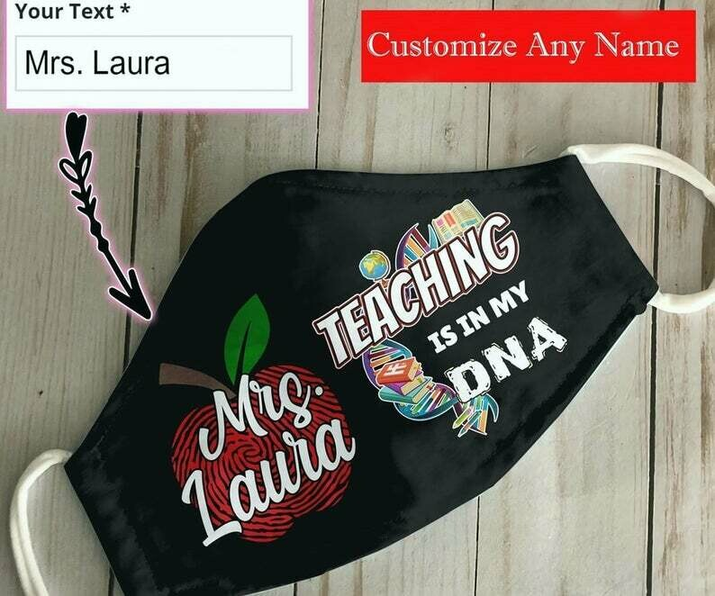 Customize Name Teacher Teaching Is In My DNA handmade facemask - can be washed comfortable to wear Anti Droplet Dust Filter Cotton Face Mask