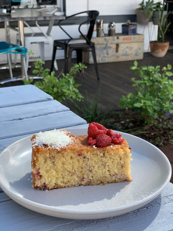 Raspberry almond coconut cake