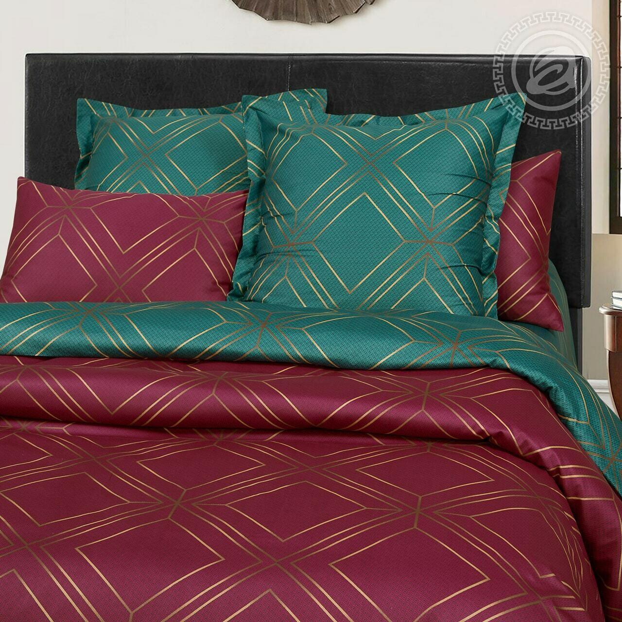 Комплект постельного белья из сатина Шарль Красный&Зеленый