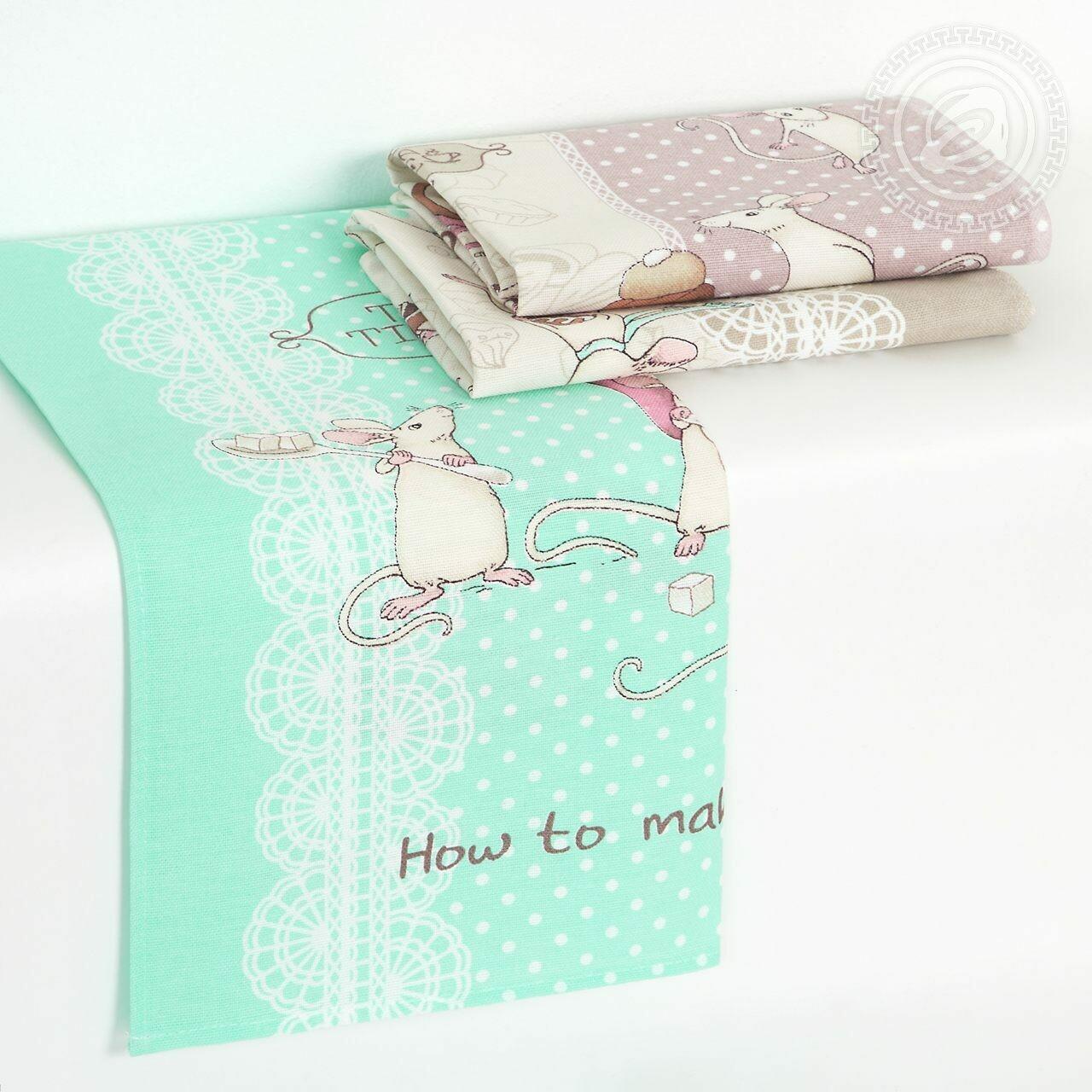 Полотенце из рогожки Мышки