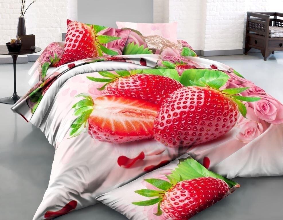 Комплект постельного белья из сатина Клубничка