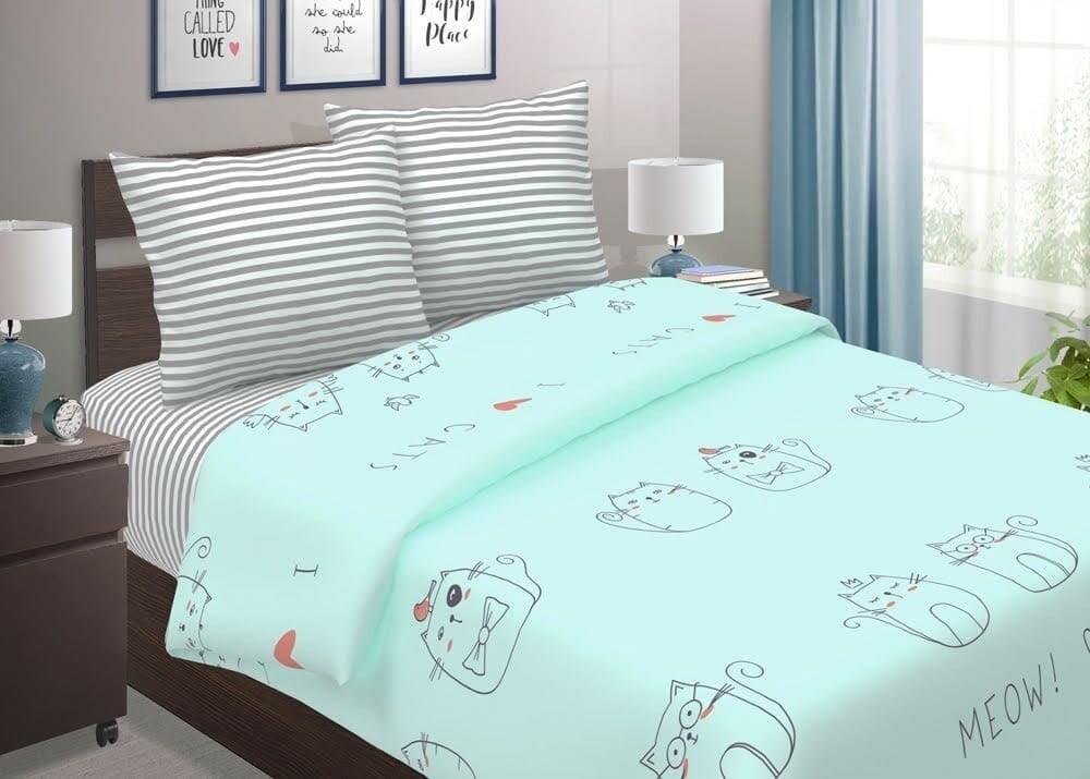 Комплект постельного белья из поплина Котики
