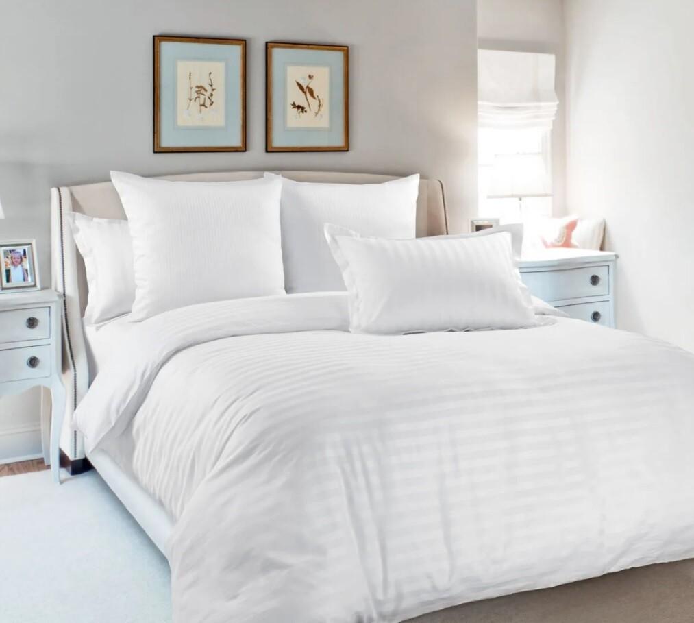 Комплект постельного белья из страйп-сатина Белый