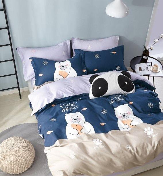 Комплект постельного белья из сатина Зимний Мишка