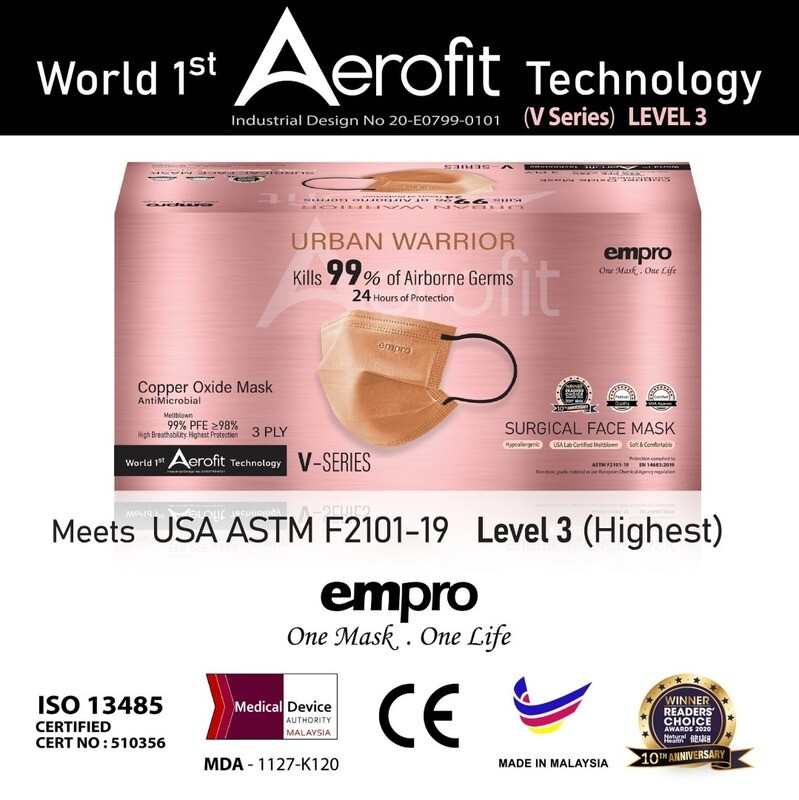 URBAN WARRIOR – EMPRO COPPER OXIDE MASK [ Anti- Microbial ] V SERIES - KILL 99% OF AIRBORNE GERMS