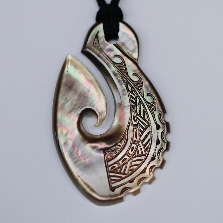 Fish Hook (Matau) in MOP with Polynesian Engravings