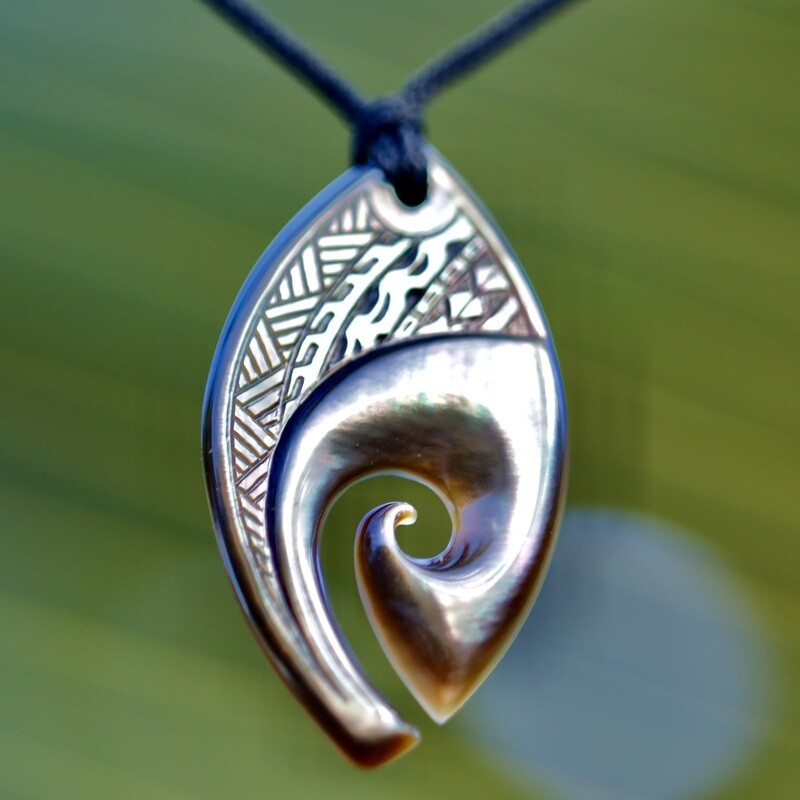 Wave and Koru cut into MOP Surf pendant