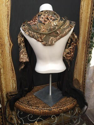 La Contessa Shoulder Or HipWrap Sequined Fabric W metal Swagg Detail And Faux Furr stripps