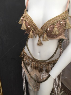 Champagne Mist Bra 36 C Pearly Trim W Metal Braid Swagg Two Hip Wraps Front And Back