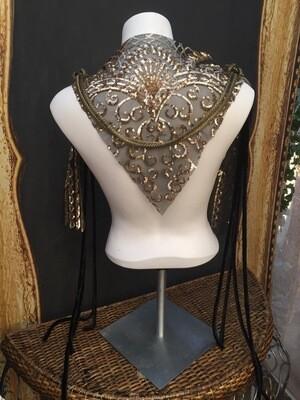 Sequined Shoulder or Hip Wrap Velvet Ties Bronze Finish Metal Rings Metal Braid Swagg