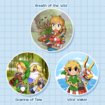 Zelda Circle Pins