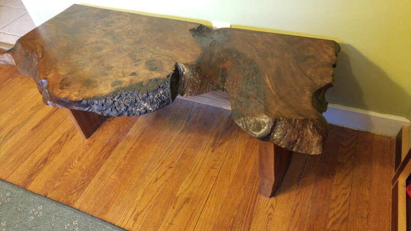 Walnut live edge burl bench/table