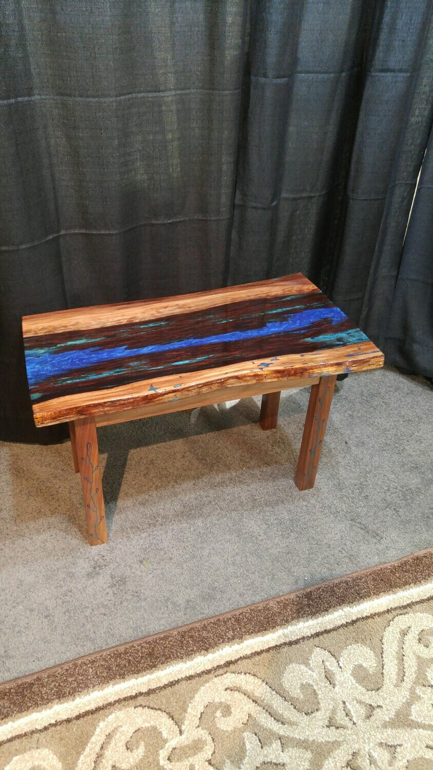 Redwood Resin Filled Slab table