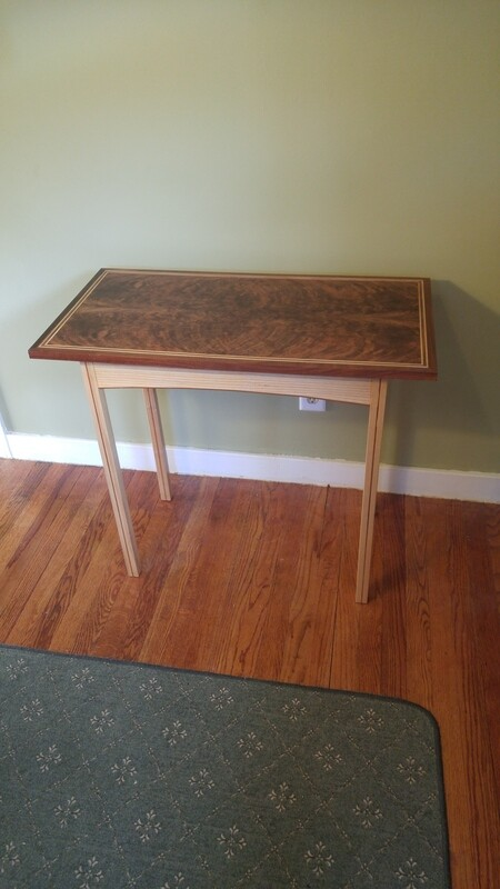 Inlaid Crotch Walnut Side Table
