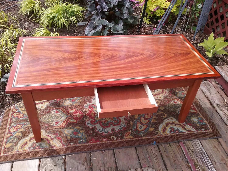 Book Matched Crotch Mahogany Veneered Table