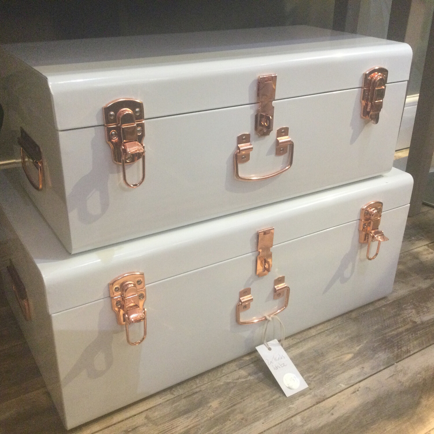 Boutique Metal Trunks - Set Of 2