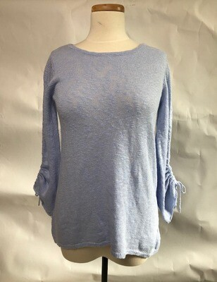Sky Blue Ruched Sleeve Sweater