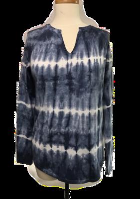 Split Neck Tie Dye Sweater Blue