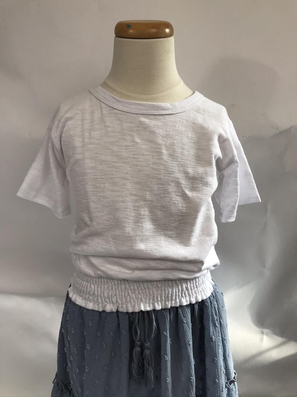 Girls' White Smock Bottom T-shirt