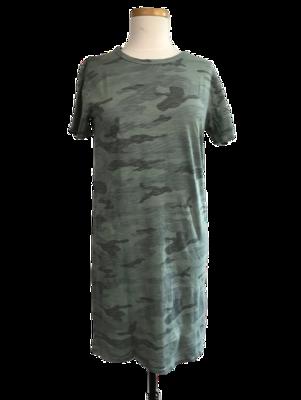 Camouflage T-shirt Dress Coastal Sage