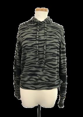 Olive Zebra Stripe Hoody Sweatshirt