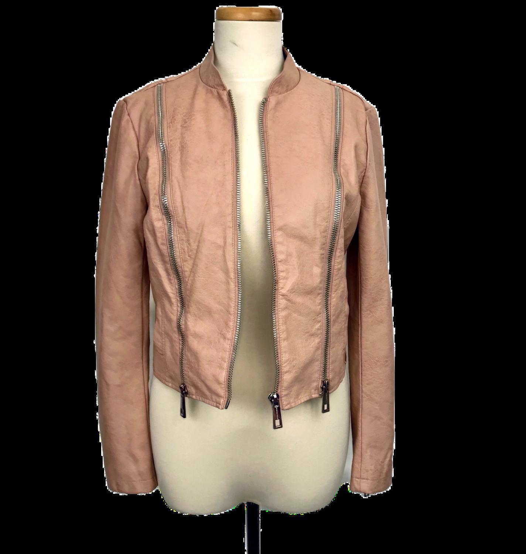 Dusty Rose Faux Leather Jacket