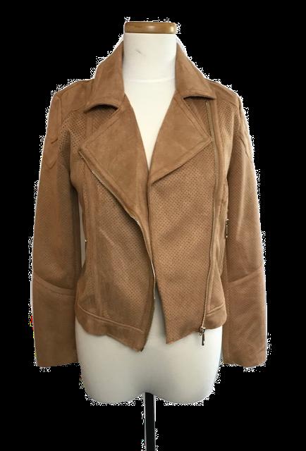 Clay (Caramel Brown) Faux Suede Moto Jacket