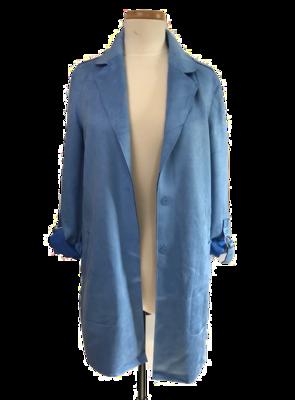 Soft Blue Faux Suede 3/4 length Coat