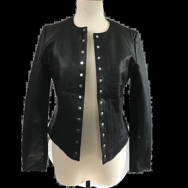 Black Front Snap Faux Leather jacket
